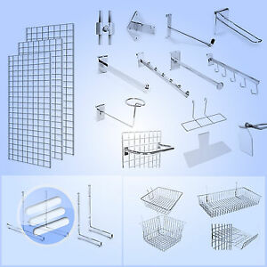 GRID-WALL-GRIDWALL-MESH-CHROME-RETAIL-SHOP-DISPLAY-PANEL-ACCESSORY-HOOK-ARM-ARMS