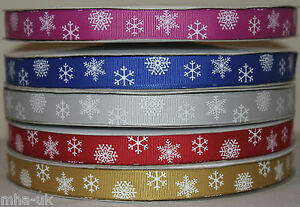 16mm-Christmas-snowflake-grosgrain-ribbon-gift-ribbon-2-4-metre-length