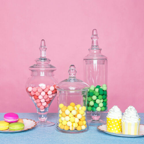 """3 pcs 9/"""" 13/"""" 14/"""" tall Clear Glass Apothecary Jars Wedding Party Candy Buffet"""