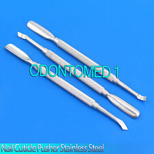 New Set 3 Pcs Nail Cuticle Pusher 2 Manicure Pedicure Stainless Steel Instrument