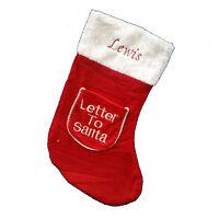 Personalised Embroidered Xmas Stocking Sack Any Name Gift Christmas Santa