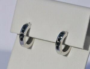Echt-925-Sterling-Silber-Ohrringe-Creolen-Zirkonia-schwarz-Hochzeit-12-mm-Nr-323
