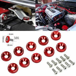 10x JDM Billet Aluminum Fender//Bumper Washer Bolt Engine Bay Dress UP SET Red