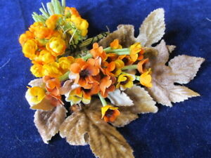 Vintage-Millinery-Flower-Collection-Yellow-Orange-Doll-Size-1-2-034-German-H3482