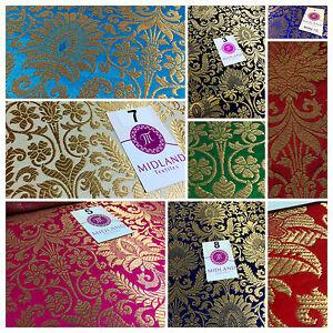 Gold-Floral-metallic-print-Indian-faux-silk-banarsi-Brocade-fabric-45-034-Wide-M282