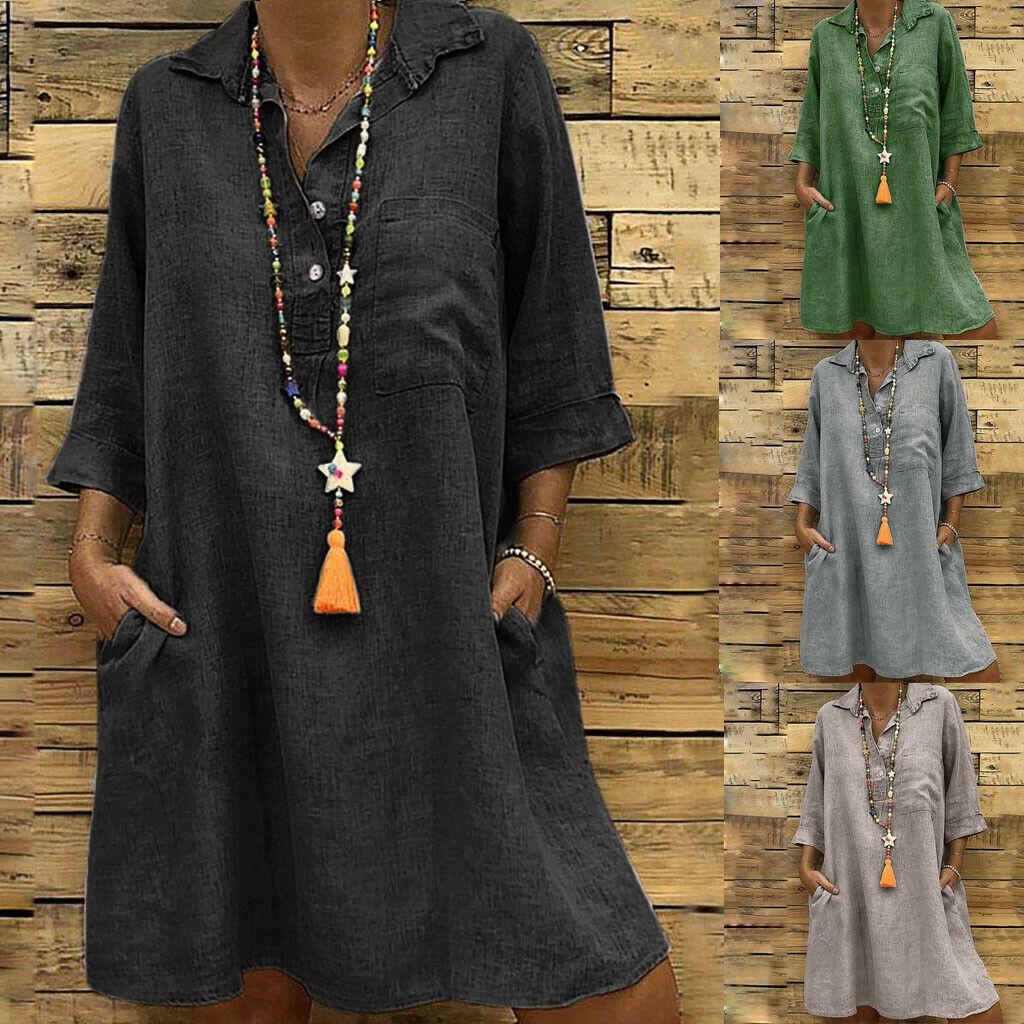 Women Cotton And Linen Dress Three Quarter Pocket Button Knee-Length Loose Dress