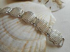 Vintage Beau Sterling Silver Mid Century Basket Weave Link Bracelet  675544