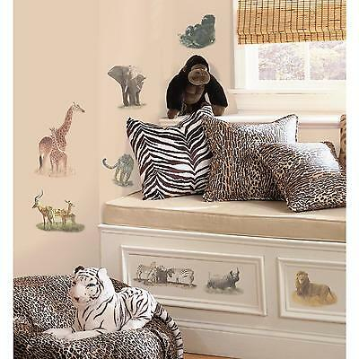 SAFARI wall stickers 19 decals Zebra Elephant Rhino Animal scrapbook jungle zoo