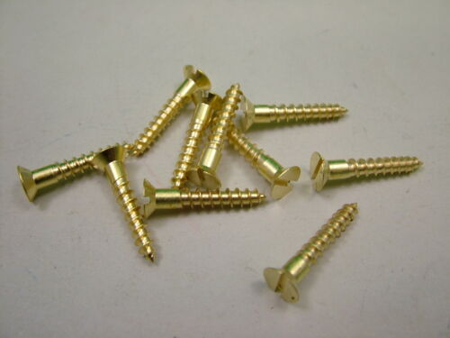 "pack of 10 No.8 x 1/"" countersunk slotted 4 x 25mm Solid brass screws"