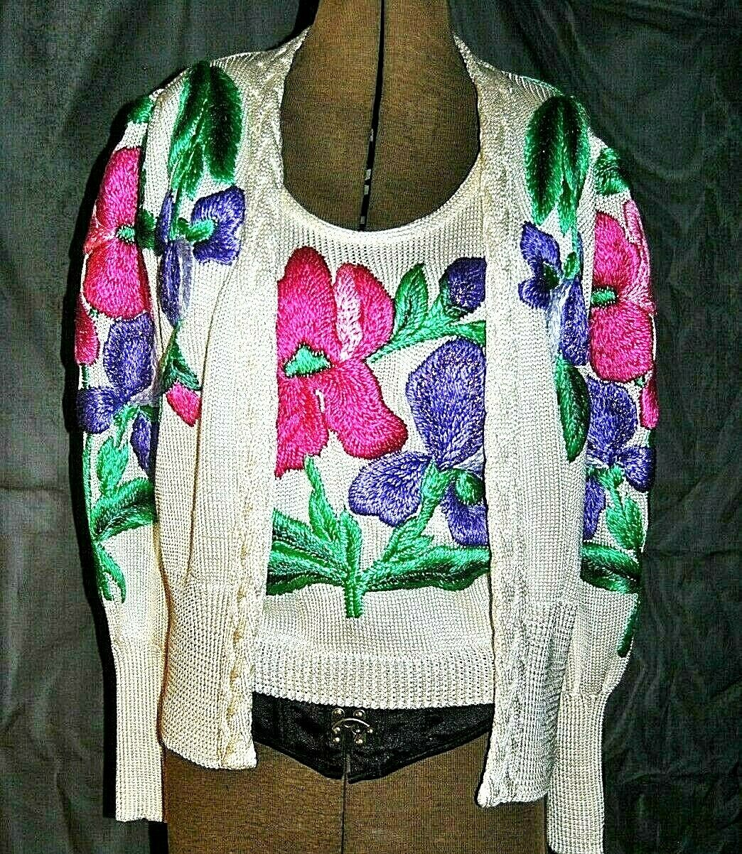 ELMARA Two Piece Sweater Set Beautifully Embroiderot Made West Germany Sz 38