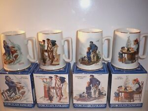 4-NORMAN-ROCKWELL-SEAFARERS-COLLECTION-PORCELAIN-MUGS