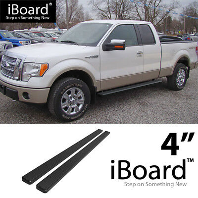 """Fit 09-14 Ford F150 Super Crew Cab 4/"""" Oval Bent Black Nerf Bars Running Boards"""