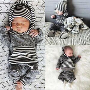 2tlg set baby jungen gestreift kapuzenpullover hoodie tops hose outfits kleidung ebay. Black Bedroom Furniture Sets. Home Design Ideas