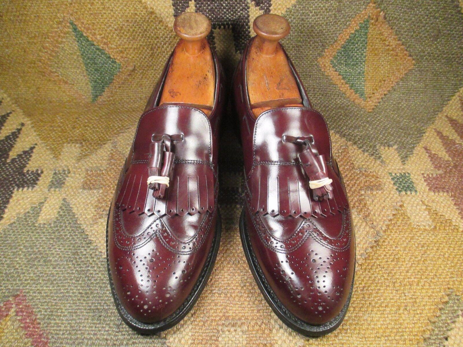 Hanover Cordovan Color Wingtip Tassel  Pelle Loafers Scarpe 8.5 D/B made in USA
