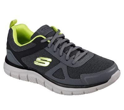 Skechers Uomo Wide Fit Track Bucolo formazione Sneaker in AntraciteLime | eBay