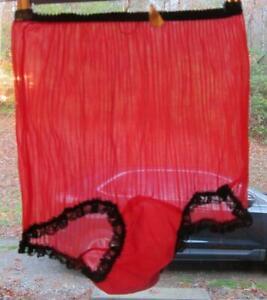 SEXY-Vintage-RED-Sheer-Nylon-Pleated-Chiffon-STRIPED-Sissy-Panties-Size-7-UNWORN