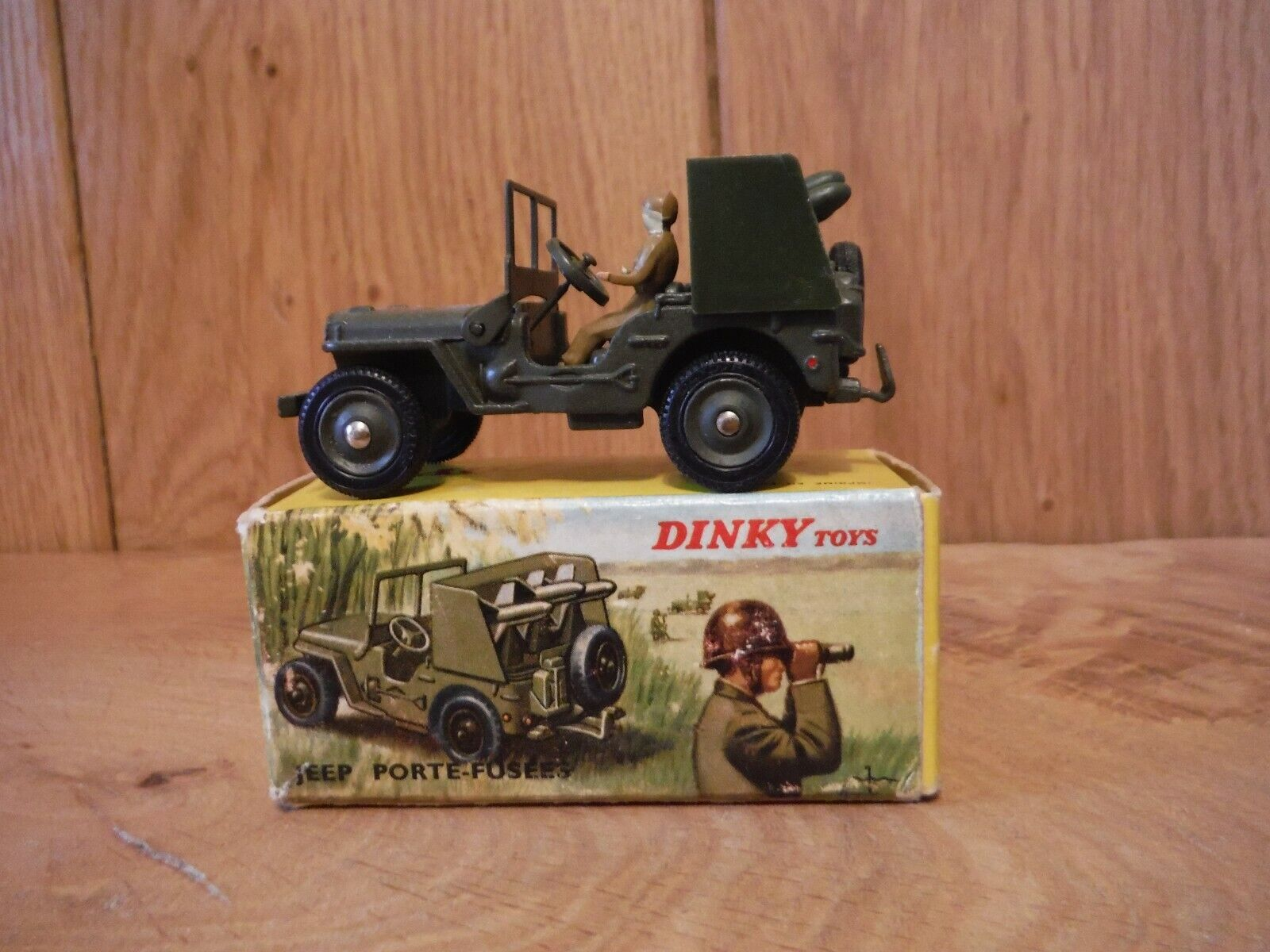 French Dinky 828 Jeep with Rocket Launcher Boxed