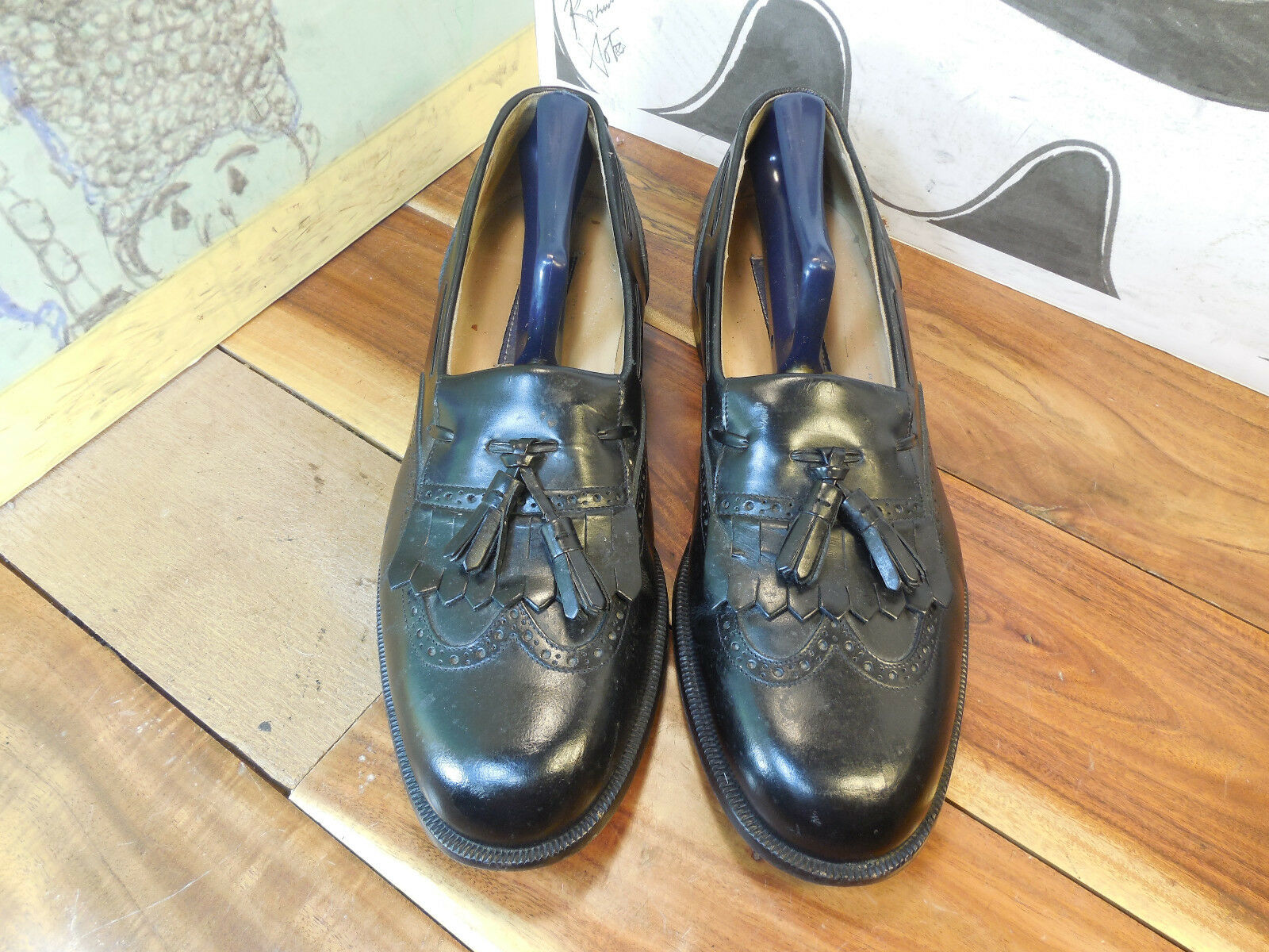 Nordstrom's Black Leather Kiltie Made Tassel Loafers Men's 10M Made Kiltie in Italy f6a3e6