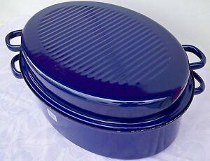 RIESS Premium Emaille Bratpfanne mit Deckel Bräter Pfanne Bratpfanne 37x26 blau