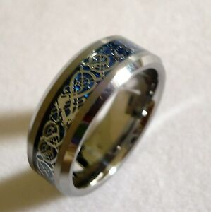 8MM MENS TUNGSTEN CARBIDE Celtic Dragon Pattern WEDDING BAND RING SIZE 6 15