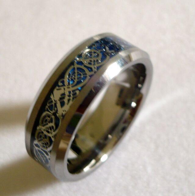 8MM MEN'S TUNGSTEN CARBIDE celtic dragon pattern WEDDING BAND RING SIZE 6-15