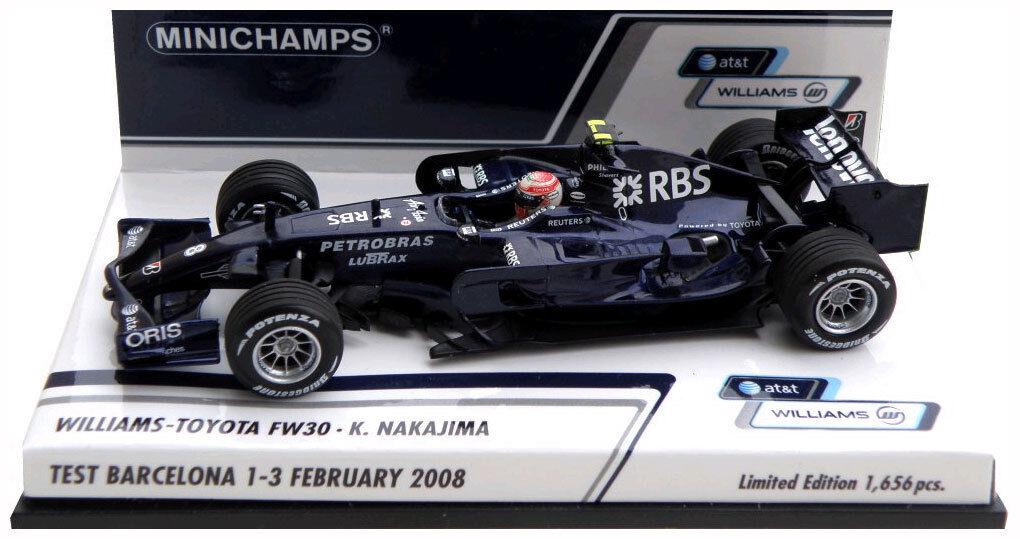 Minichamps Williams FW30 prueba BARCELONA FEBRERO de 2008-Kazuki Nakajima escala 1 43