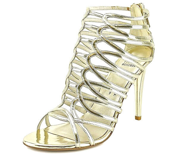 Stewart Weitzman Loops Strappy Cage Pale or Taille 10 M M M Leather Sandal chaussures  450 c2f480