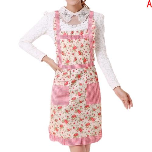 Women Floral Muti-color Anti-oil Cooking Kitchen Restaurant Apron Pocket-New