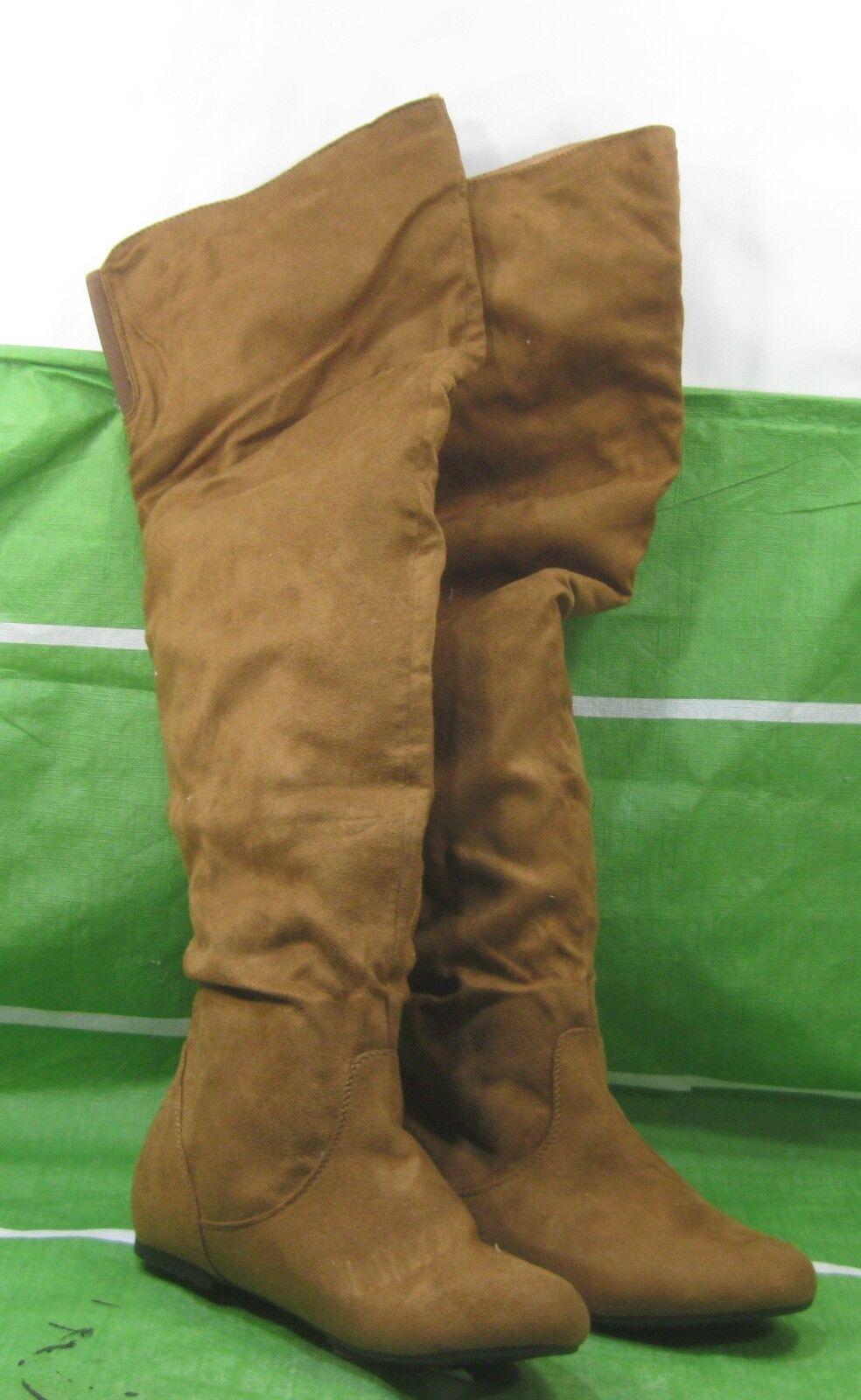 New Tan Flat Round Toe Back Elastic Over Knee Hidden Pocket Boots Size  8.5