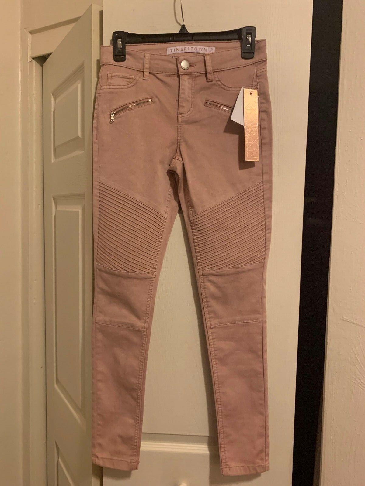 Tinseltown Juniors Size 3 bluesh Skinny Zippered Jeans Reg.  48