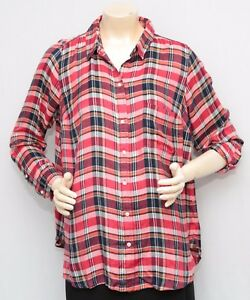 5ec702fbf2f2c NWT LUCKY BRAND 1X Red Multi Plaid Long Sleeve Button Down Top