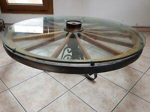 Dettagli su Tavolo tondo vetro cristallo ruota carro