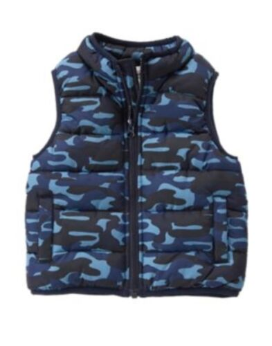 GYMBOREE GRIZZLY RIDGE BLUE CAMOUFLAGE PUFFER LINED VEST 12 24 2 3 4 5 NWT