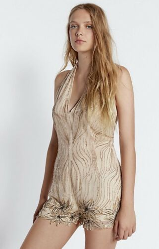 Shortall Free Open Back Nude 8 Beaded Romper Halter Pewter Embroidery People Nwt vpRwdd