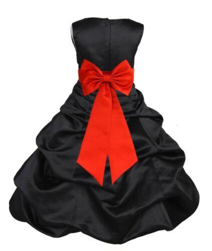 BLACK PICK-UP FLOWER GIRL FORMAL DRESS PAGEANT WEDDING BRIDESMAID JUNIOR TODDLER