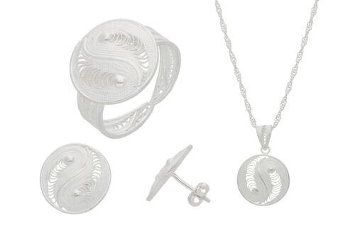 925 Sterling joyas de plata-set 3 piezas anillo pendientes remolque cadena s07