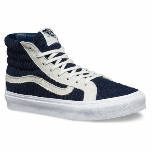VANS Suede/Woven Navy Blue/True White Shoes Sk8-Hi Slim WOMEN'S size 5