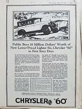 1926 Chrysler 60 Car Public Buys 18 Million Dollars Worth Original Ad