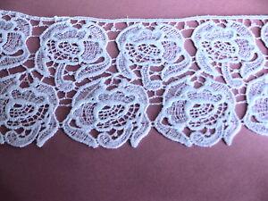 "Vintage Venise lace Ivory Rose Trim By Yard 4"" Rayon bridal linen Quilt #1817a"