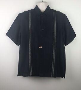 CUBAVERA-Men-039-s-Dress-Shirt-Sz-LARGE-Black-Button-down-Short-Sleeves-Rayon