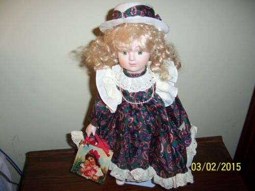 Christmas Doll Vintage Porcelain Doll & Stand by House of Lloyd Inc