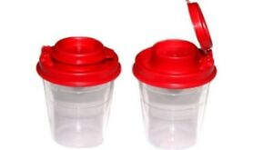 Tupperware Mini Salt Pepper Shakers 2 Oz Lunch Bag Box Size Red