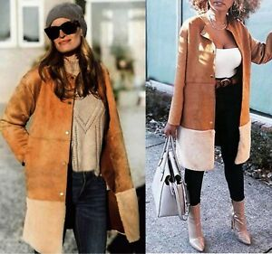 Suede Faux Bnwt Size Camel With Fur And Coat Contrasting M Zara aB7Op