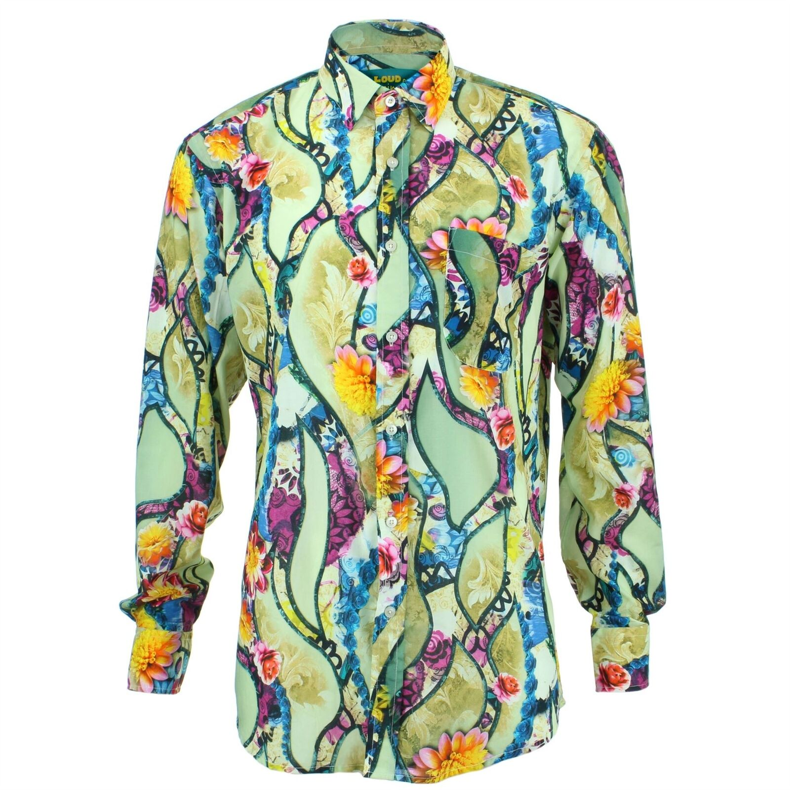 Men's Loud Shirt REGULAR FIT Floral Purple Retro Psychedelic Fancy
