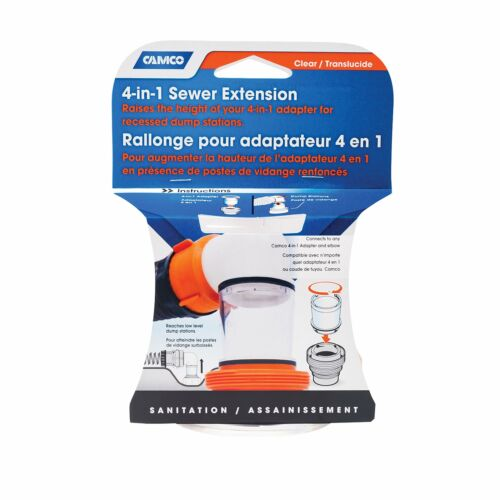 """Camco 4-In-1 Sewer Extension Length 3 5//8/""""//3.5/""""Diameter Clear 39735"""