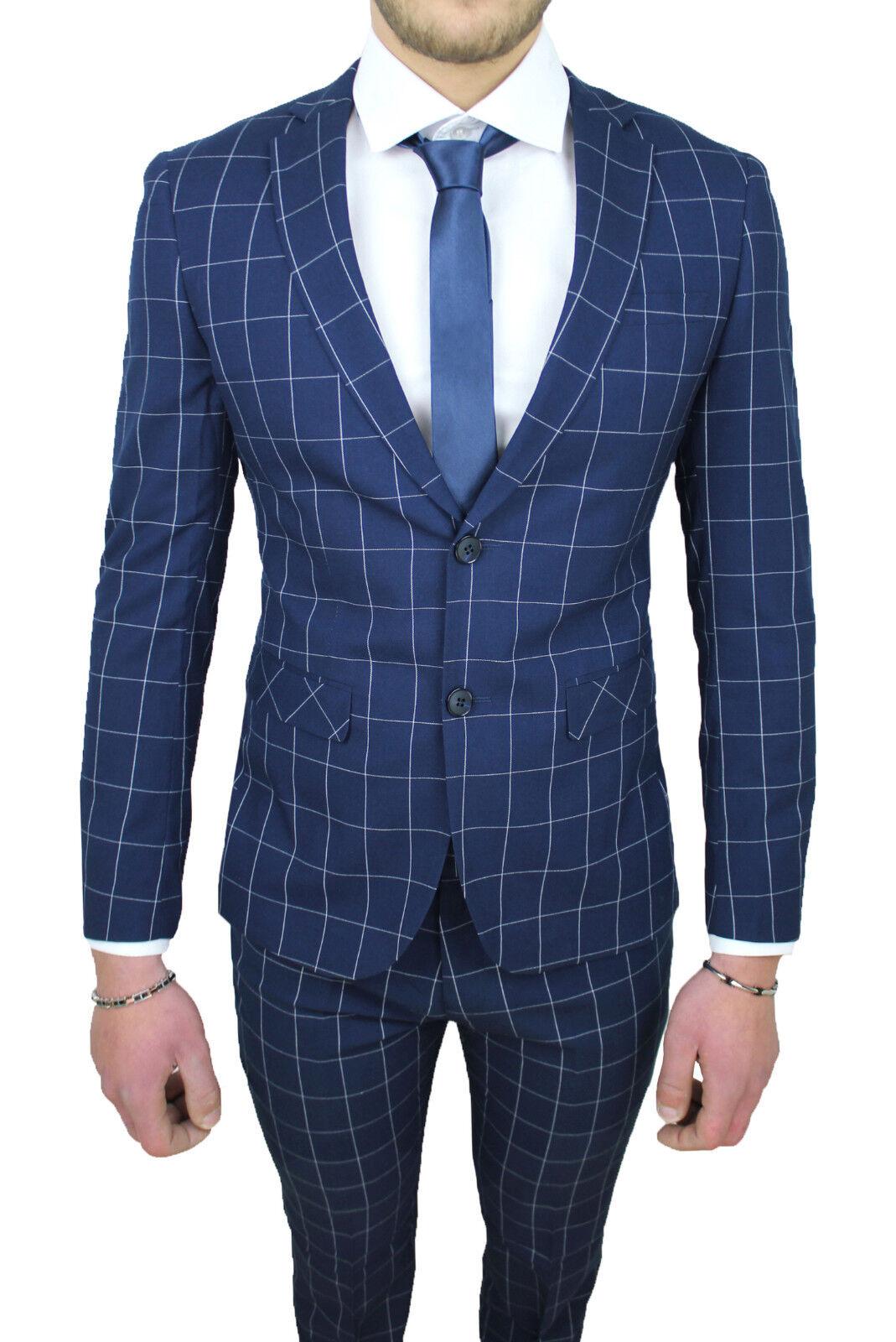 Kleid komplette Mann Diamant sartoriale blau Fantasie Kader élégant da 44 a 58