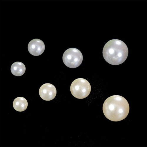 100x DIY 4mm 6mm 8mm No Hole Round Pearl Loose Acrylic Beads Jewelry Making ah
