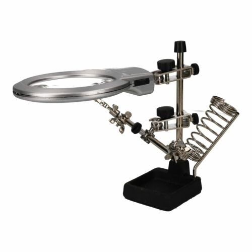 """Soldering Iron Rest LED Helping Hand Illuminated Magnifying Glass Magnifier3.5/"""""""