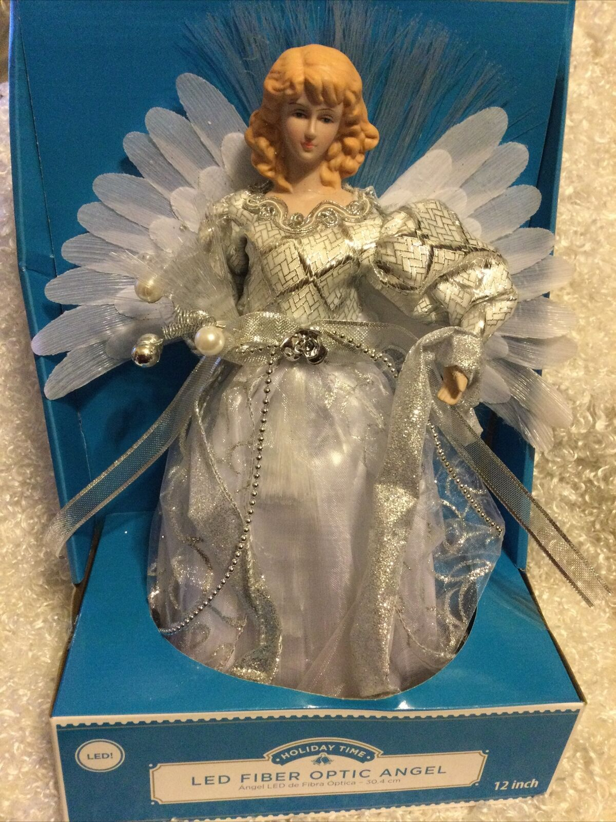 Christmas Tree Topper Fiber Optic Blue Angel 12 Led Light Indoor For Sale Online Ebay