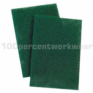 10-x-Green-9-x-6-Scotchbrite-Cleaning-Pads-Scrubbing-Scouring-Finishing-Abrasive